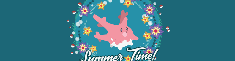 green background and pokemon corsola in the middle
