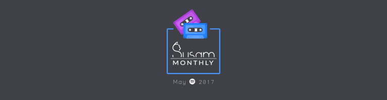 black background with one blue one purple cassette and title on it