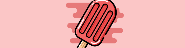 pink background with red ice pop in the middle