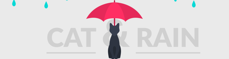 black cat with a red umbrella during rain, cat & rain engraved on background