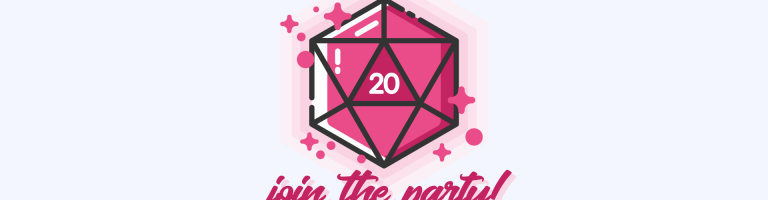 pink 20 sided dice with a pink hue on background and it says join the party below