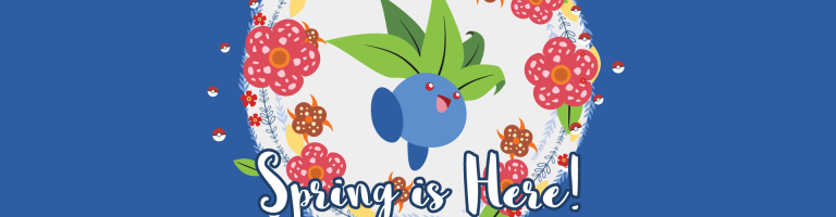 wallpaper with blue background and pokemon oddish in the middle
