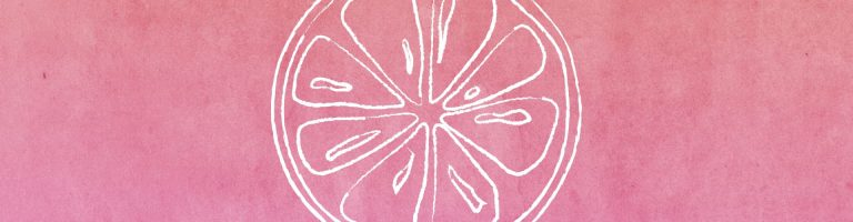 on a pink watercolor background, white outline of a citrus